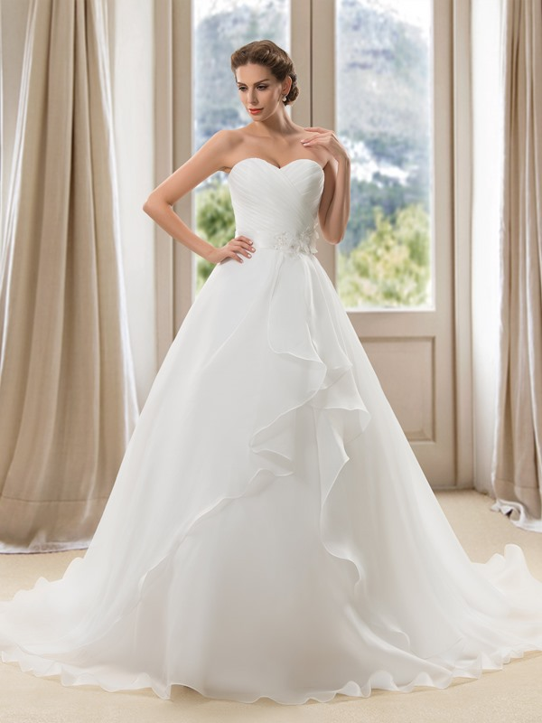 Eye-catching Strapless Sweetheart Ruched Floor Length A-Line Wedding Dress