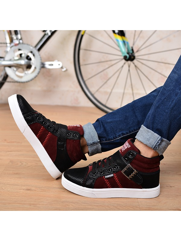 Patchwork Buckled Lace-Up High-Cut Upper Sneakers