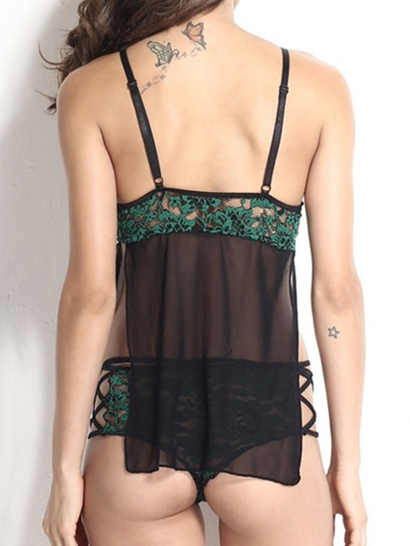 Green Floral Embroidery Lace-Up Babydoll
