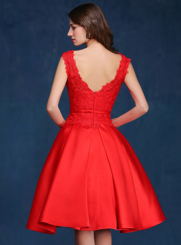Delicate Straps A-Line Lace Knee-Length Red Prom Dress(Free Shipping)
