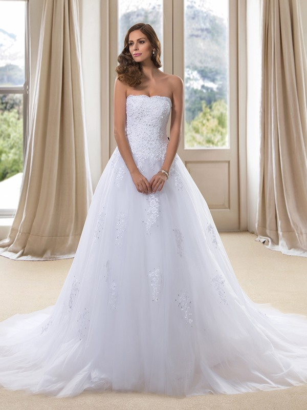 Strapless White Lace A-Line Wedding Dress