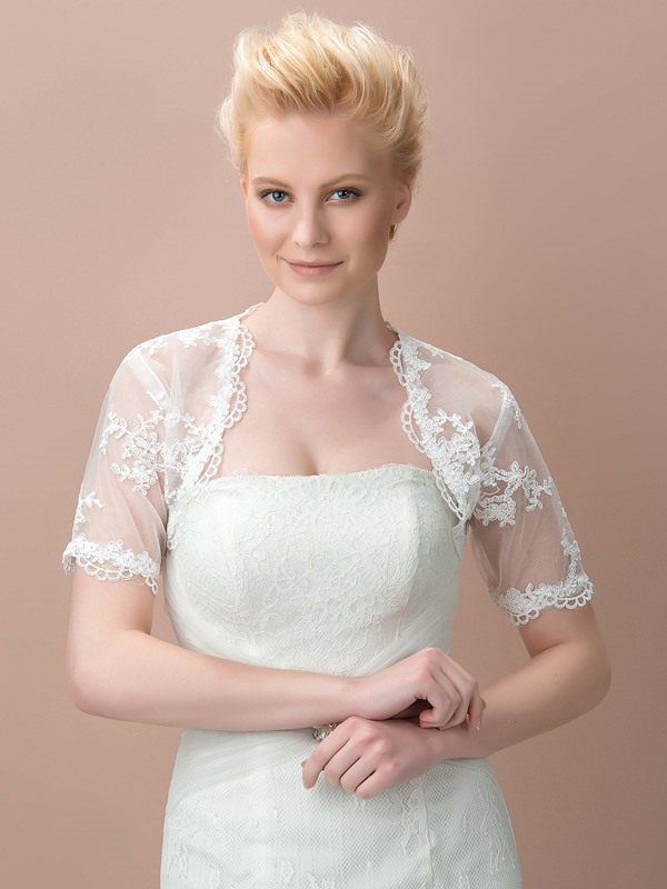Short Sleeves White Wedding Jacket