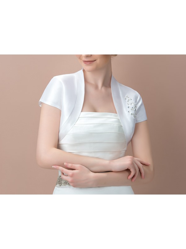 Short Sleeves Beading Wedding Jacket