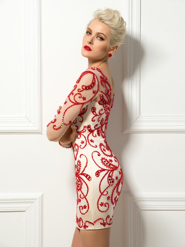 Bright Scoop Neck Beading Embroidery Column Short Cocktail Dress