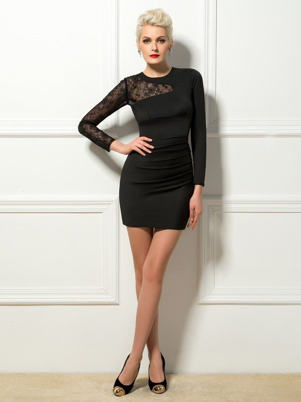 Jewel Neck Sheath Lace Long Sleeves Mini Cocktail Dress