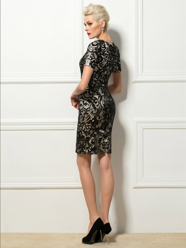Column Lace Short Sleeves Short Formal/Cocktail Dress
