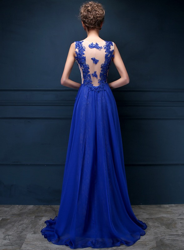 Dazzling Tulle Neck Appliques Lace Sequins Long Evening Dress(Free Shipping)