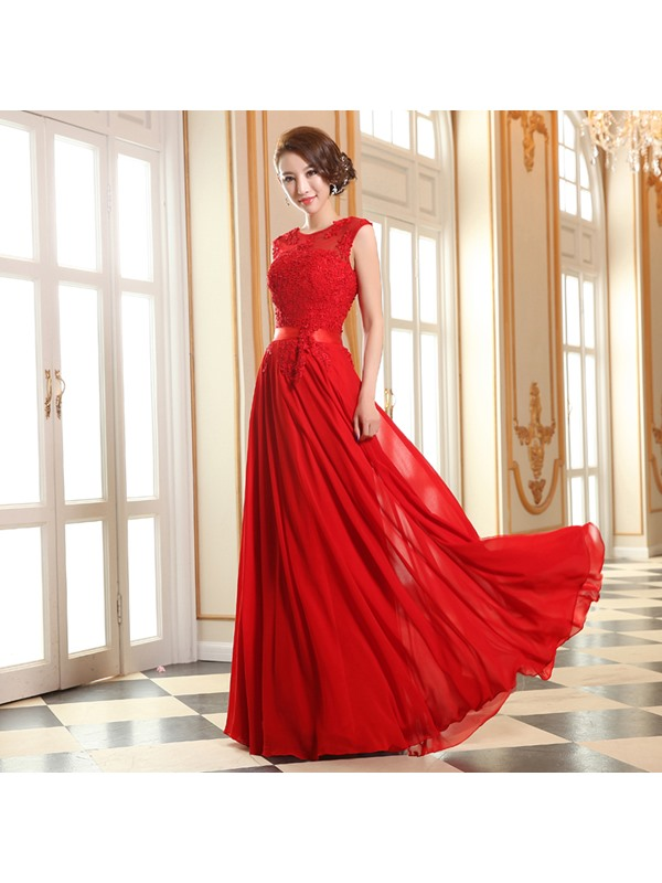 Eye-catching Scoop Neck Appliques Lace-up Long Prom Dress(Free Shipping)