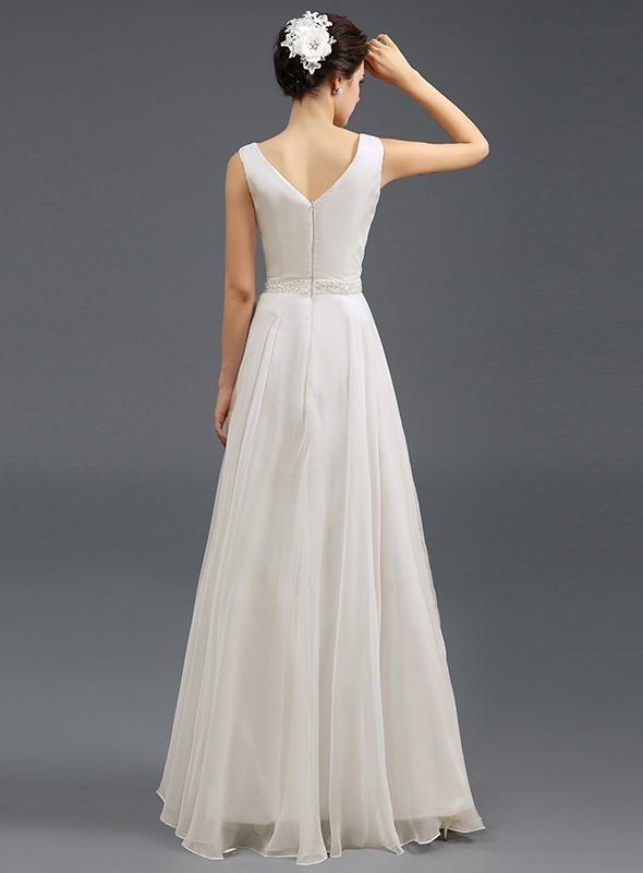 A-Line Round Neck Pearls Long Prom Dress