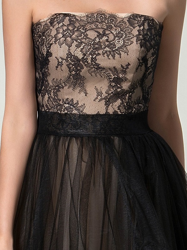 Timeless Strapless A-Line Court Train Lace Long Evening Dress Designed