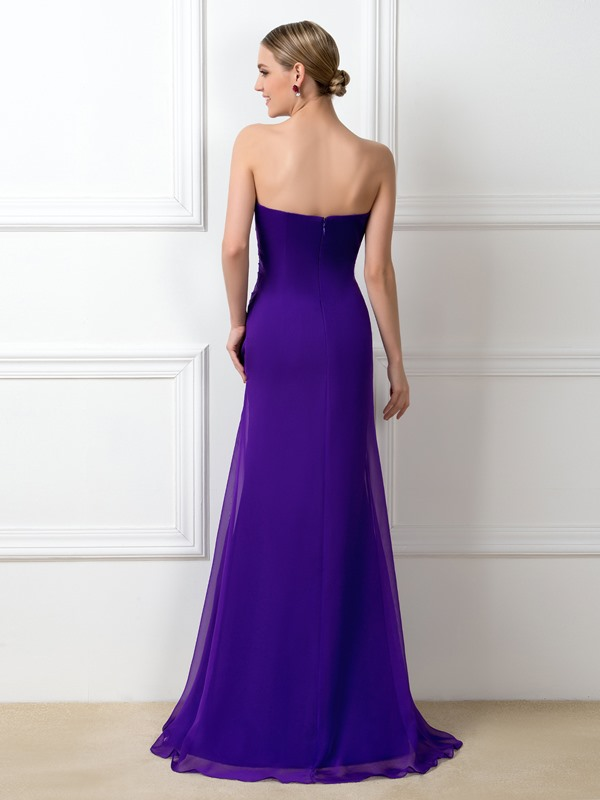 Eye-catching Ruched Beaded Sweetheart Purple Long Bridesmaid Dress(Free Shipping)