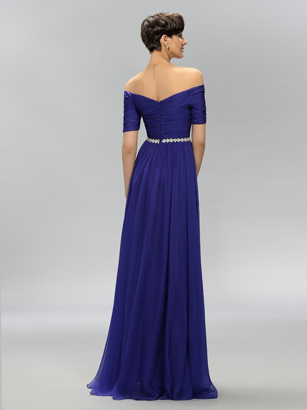 Eye-catching A-Line Off-the-Shoulder Crystal Pleats Long Evening Dress Designed (Free Shipping)