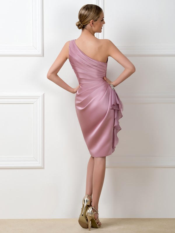 Ruched One-Shoulder Sheath Short Bridemaid Dress(Free Shipping)
