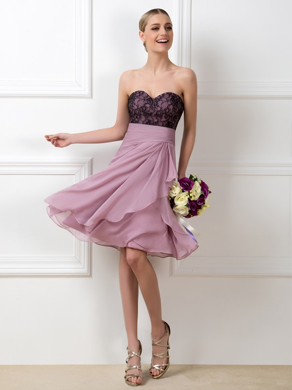 Lace Sweetheart A-Line Short Bridesmaid Dress(Free Shipping)