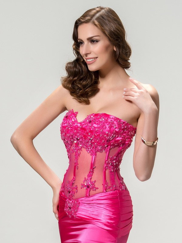 Sensual Sweetheart Appliques Beading Split-Front Long Evening Dress