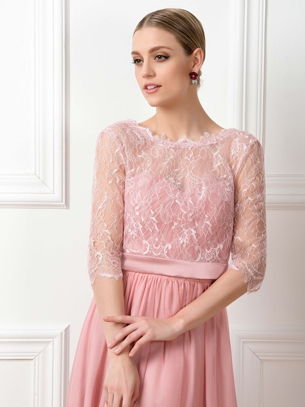 Lace Scoop Neck Long Sleeve Bridesmaid Dress