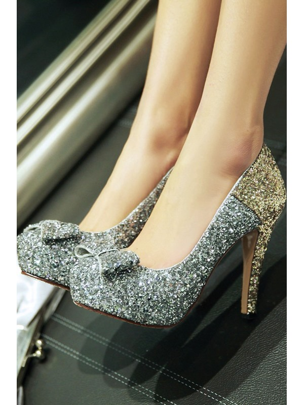 Sequin Studded Bowknot Decorated Patchwork Pumps