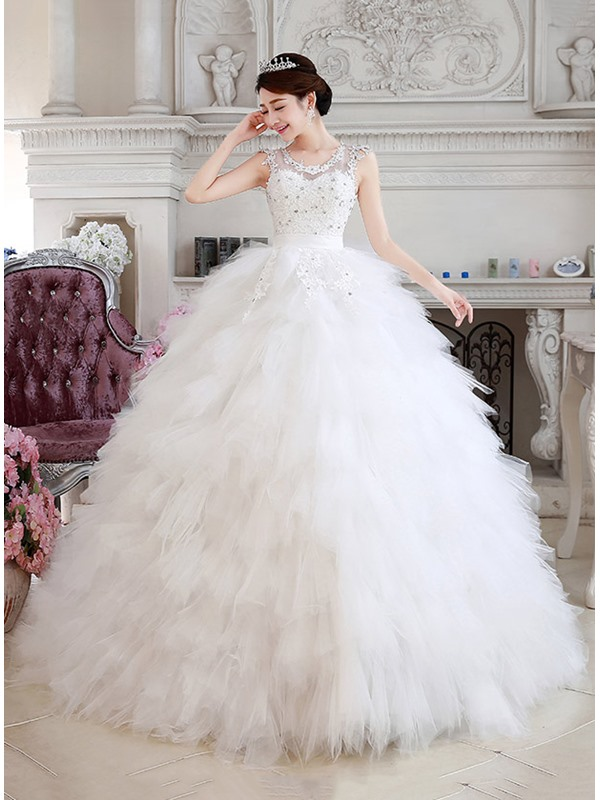 Beaded Jewel Neck Ruffles Tulle Princess Wedding Dress(Free Shipping)
