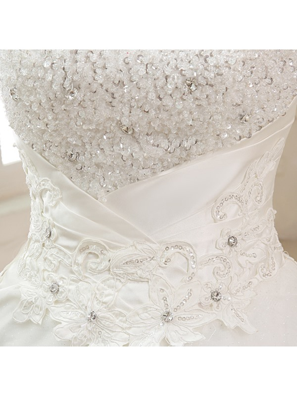 Stunning Strapless Ruched Beaded Lace Appliques A-Line Wedding Dress
