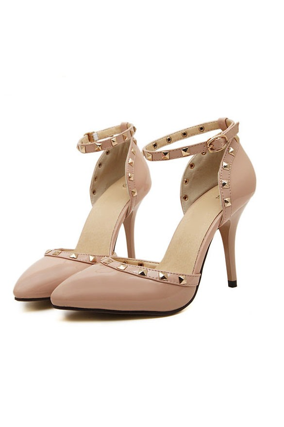 Rivets Decorated Ankle Strap Pumps