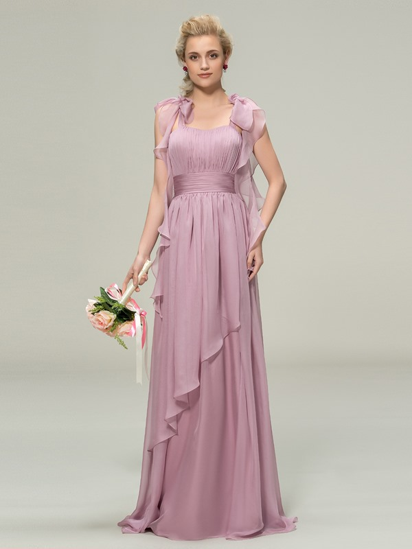 Trendy Straps Ruched Long Bridesmaid Dress