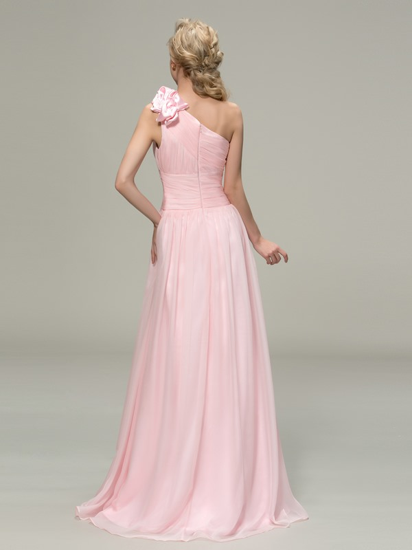 Simple Style Ruched One Shoulder A-Line Long Bridesmaid Dress(Free Shipping)