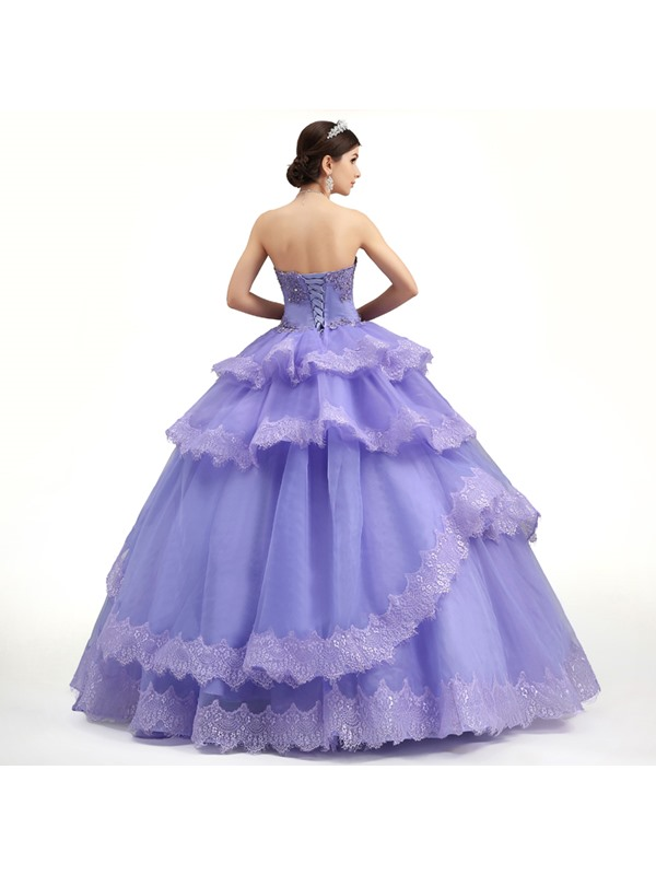 Strapless Tiered Appliques A-Line Lace-up Long Quniceanera Dress