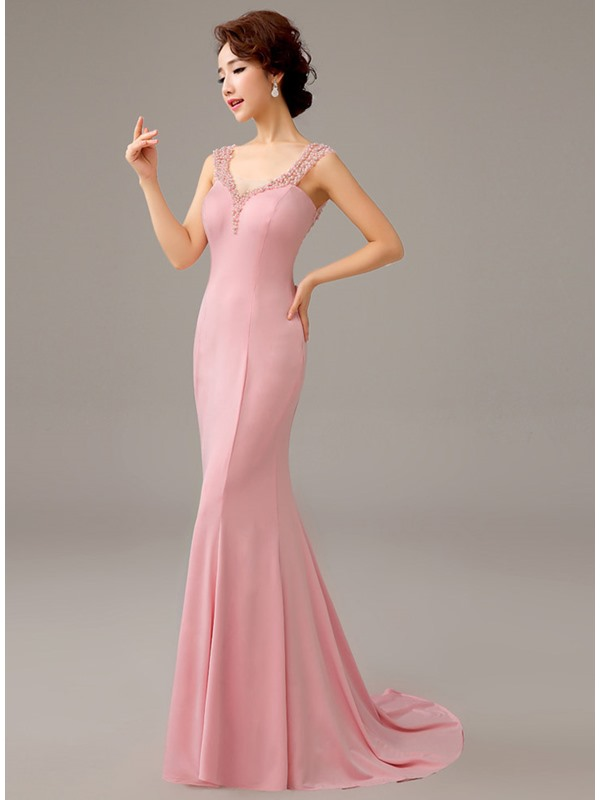 Ladylike Straps Bowknot Pearls Mermaid Sweep Train Evening Dress(Free Shipping)