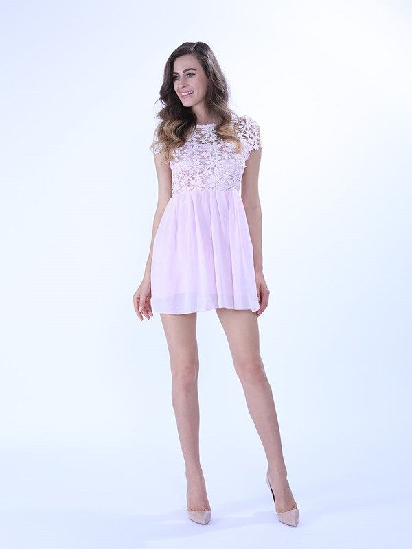 Lace Chiffon Hollow Dress