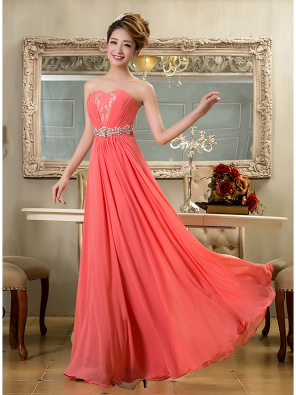Eye-catching A-Line Strapless Crystal Pleats Long Prom Dress