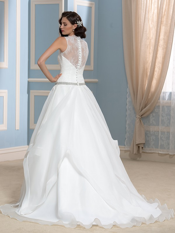 Sheer Back A-Line Beaded Lace Wedding Dress