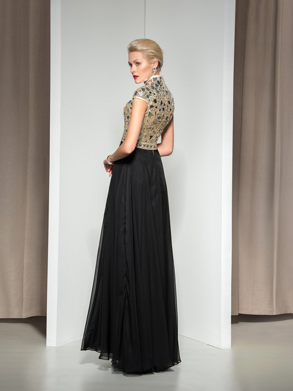 Fashionable V-Neck Cap Sleeve Split-Front Beaded Long Evening Dress(Free Shipping)