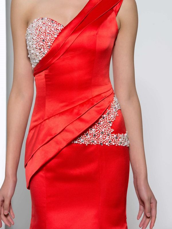 Graceful One Shoulder Pearls Beading Red Mermaid Evening Dress