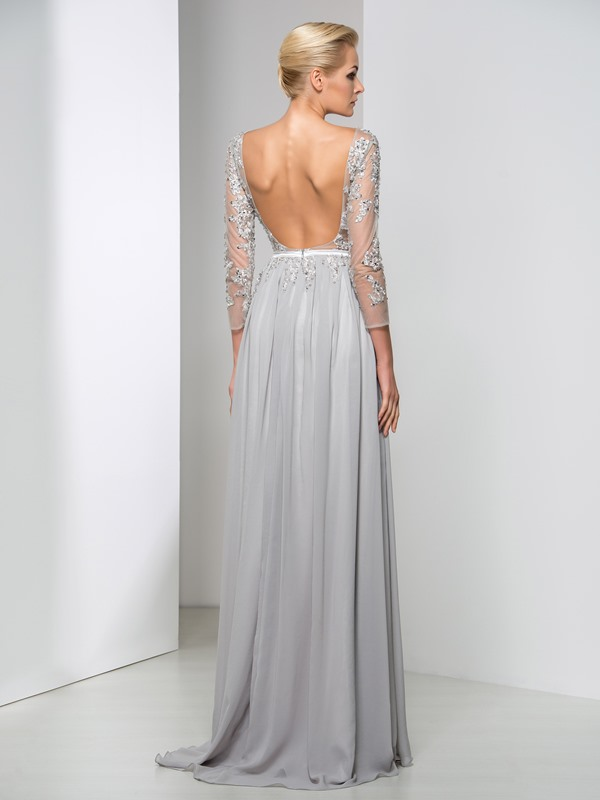 Sexy Backless Bateau Neck Appliques Sequined A-Line Long Evening Dress