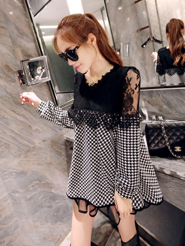 Houndstooth Lace Patchwork Long Sleeve Dress