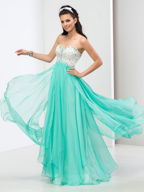 Modern Sweetheart A-Line Sequined Beaded Long Prom Dress
