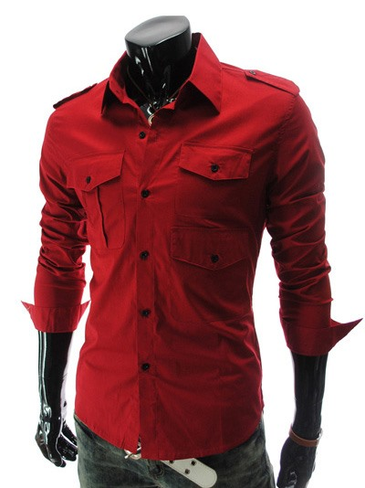 Button Decorated Lapel Long Sleeve Shirt