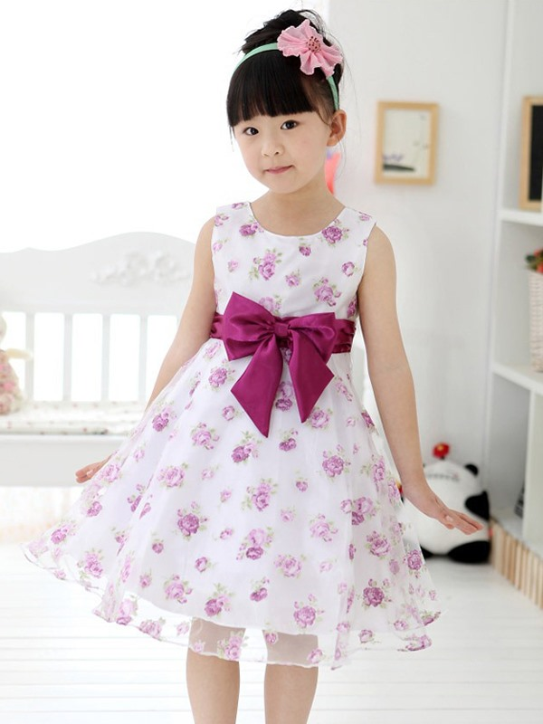 Purple Bowknot Decorated Floral Print Girl's Dress