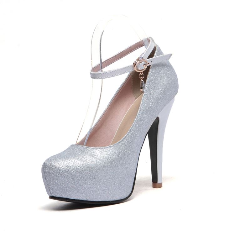 Fashion Solid Color Platform Ankle Strap Pumps