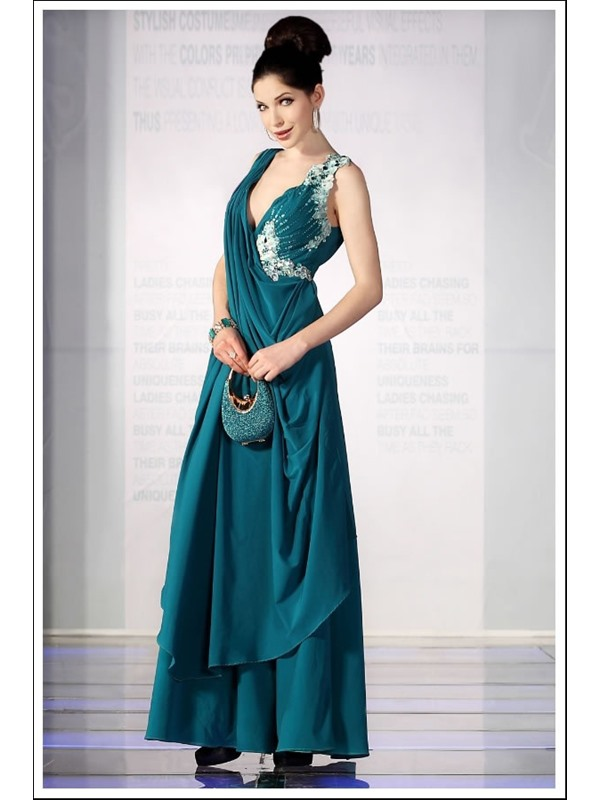 Modern A-Line V-Neck Sleeveless Floor-length Appliques Evening Dress