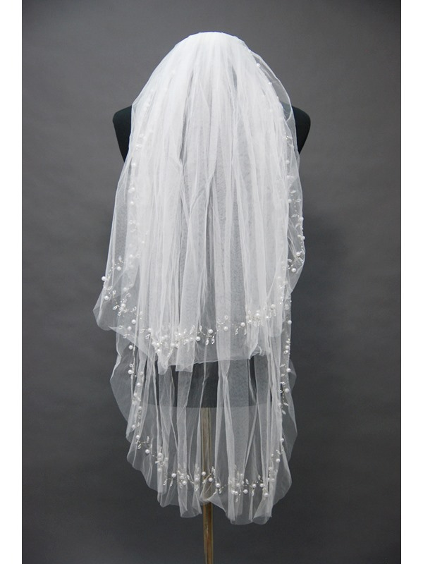 Grand Fingertip Wedding Bridal Veil with Bead Floral Motif Edge