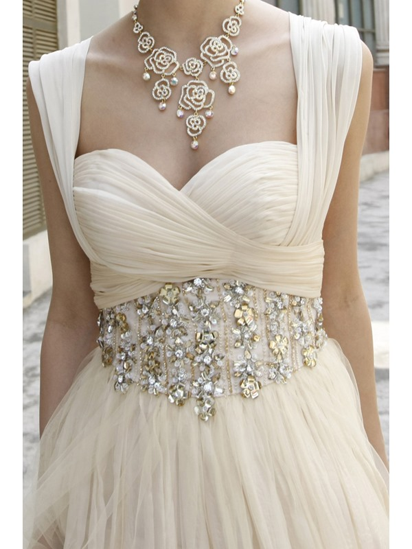 Attractive A-Line Sweetheart Empire Waist Crystal Long Prom Dress