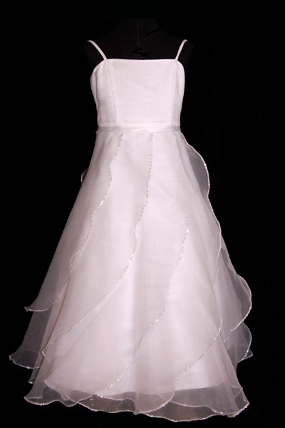 A-line Spaghetti Straps Floor-length Ruffling Flower Girl Dress