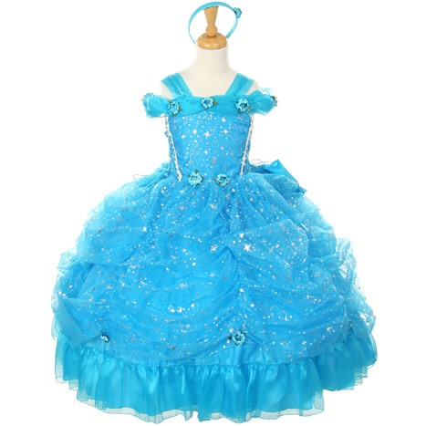 Amazing Straps Ball Gown Floor-length Ruched Flowers &Sequins Flower Girl Dress