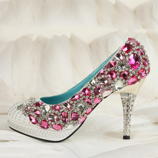 Brilliant White And Pink Crystal Prom/ Evening Shoes
