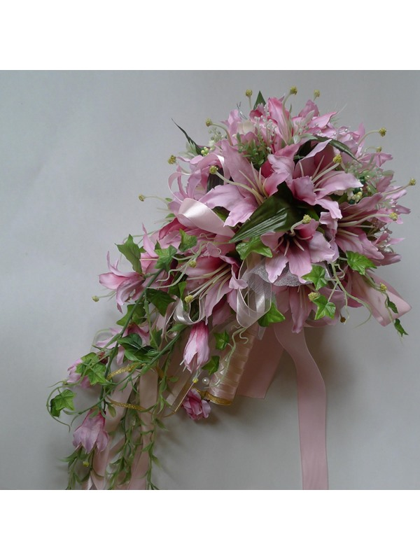 Pretty Rose Silk Cloth Lily Wedding Bridal Bouquet with Pink Ribbon