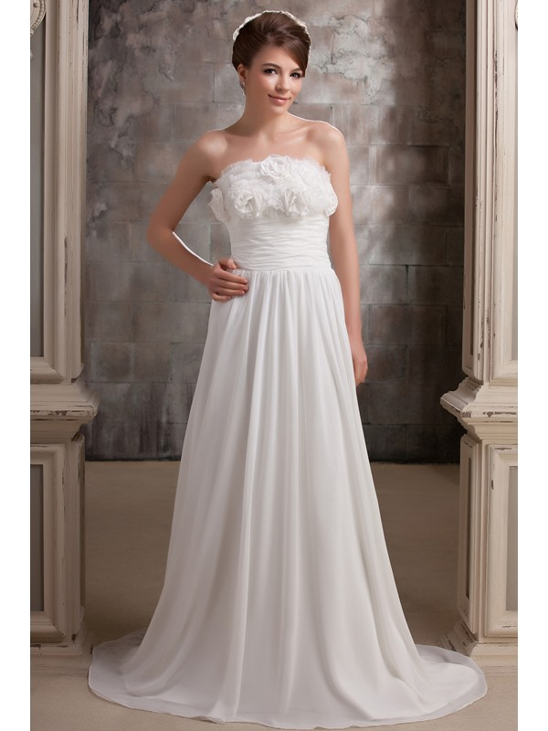 Casual StraplessTrain Empire Chapel Flowers Embellishment Daria's Wedding Dress