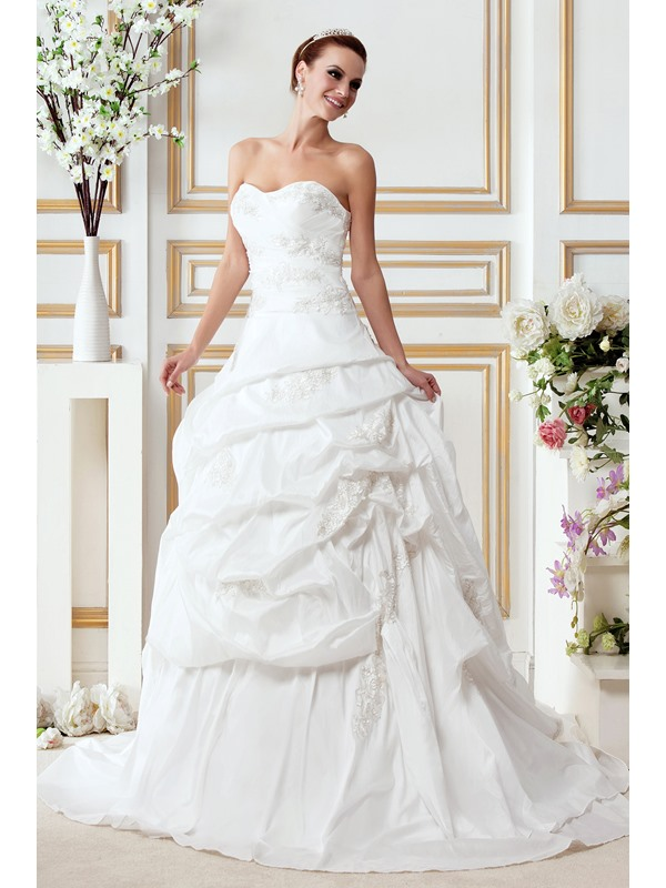 Junoesque A-Line/Princess Sweetheart Court Train Gerogia's Draped Bridal Gown