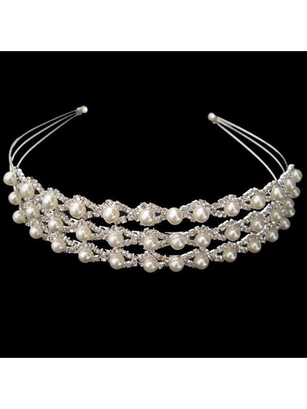 Luxurious Alloy with Bright Rhinestone and Pearl Wedding Bridal Tiara