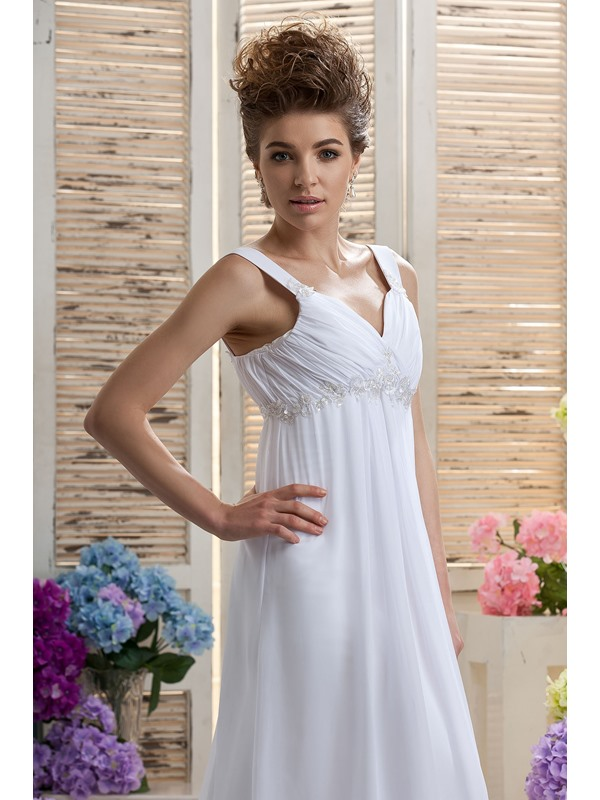 Empire Straps Floor-length Beading Daria's Court Wedding Dress(Free Shipping)